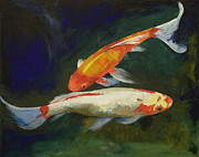 Japanese Koi Framed Prints - Feng Shui Koi Fish Framed Print by Michael Creese