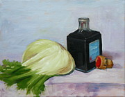 Vinegar Painting Framed Prints - Fennel and vinegar bottle Framed Print by Hilary England