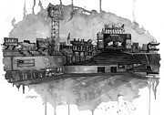 Fenway Park Mixed Media Metal Prints - Fenway BW Metal Print by Michael  Pattison