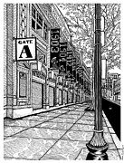 Red Sox Drawings - Fenway Park by Conor Plunkett