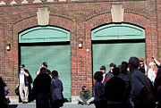 Boston Sox Prints - Fenway Park - Fans and Locked Gate Print by Frank Romeo