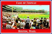 Grandstands Framed Prints - Fenway Park Fans Boston Digital Painting Framed Print by A Gurmankin