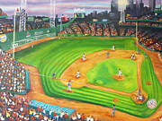 Fenway Park Painting Metal Prints - Fenway Park Fantasy Metal Print by Michell Givens