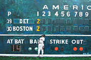Fenway Park Painting Metal Prints - Fenway Park - Green Monster Metal Print by Mike Rabe