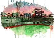Baseball Art Mixed Media Posters - Fenway Park Poster by Michael  Pattison