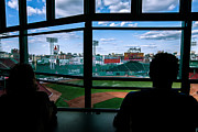 Sky Writer Posters - Fenway Park Press Box Poster by Tom Gort