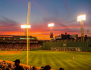 Boston Sox Prints - Fenway Sunset Print by Gary Wiesner