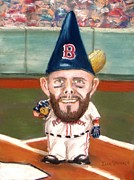 Red Sox Pastels Prints - Fenways Garden Gnome Print by Jack Skinner