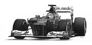 Technical Drawings Framed Prints - Fernando Alonso Framed Print by James Wing