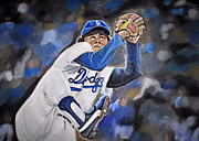 Cy Young Framed Prints - Fernando Valenzuela Framed Print by Nava Jo Thompson