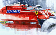 Watercolor  Paintings - Ferrari 126C Silverstone 1981 British GP Gilles Villeneuve by Yuriy Shevchuk