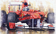 Racing Paintings - Ferrari 150 Italia Fernando Alonso F1 2011  by Yuriy  Shevchuk