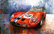 Watercolour Prints - Ferrari 250 GTO 1963 Print by Yuriy  Shevchuk