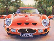 Original Watercolor Painting Posters - Ferrari 250 GTO Poster by Robert Hooper