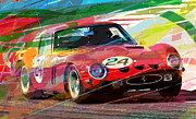 Ferrari Gto Prints - Ferrari 250 GTO Vintage Racing Print by David Lloyd Glover