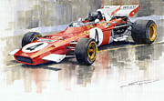 Watercolor  Paintings - Ferrari 312 B2 1971 Monaco GP F1 Jacky Ickx by Yuriy  Shevchuk