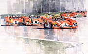Watercolor Framed Prints - Ferrari 312 PB Daytona 6 Hours 1972 Framed Print by Yuriy  Shevchuk