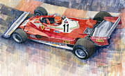 Watercolor Framed Prints - Ferrari 312 T2 Niki Lauda 1977 Monaco GP Framed Print by Yuriy  Shevchuk