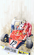 Watercolor Framed Prints - Ferrari 312T Monaco GP 1975 Niki Lauda winner Framed Print by Yuriy  Shevchuk