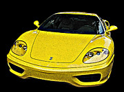 Sheats Framed Prints - Ferrari 360 Modena in Yellow Framed Print by Samuel Sheats