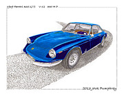 Fitted Prints - Ferrari 365 GTC 1969 Print by Jack Pumphrey