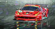 Racing Mixed Media Posters - Ferrari 458 GTC AF Corse Poster by Yuriy  Shevchuk