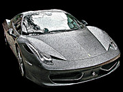 Samuel Sheats Posters - Ferrari 458 Italia in matte black front view Poster by Samuel Sheats