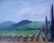 Rows Painting Posters - Ferrari Carano Vineyard Poster by Donna Tuten