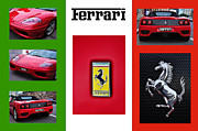 Horse Images Posters - Ferrari Collage on Italian Flag Poster by Kaye Menner