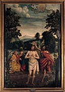 Bible Character Prints - Ferrari Defendente, Baptism Of Christ Print by Everett