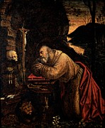 Shades Of Red Posters - Ferrari Defendente, St Jerome, 1511 - Poster by Everett