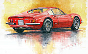 Watercolor Metal Prints - Ferrari Dino 246 Metal Print by Yuriy Shevchuk