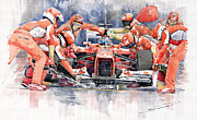 Watercolor  Paintings - Ferrari F 2012 Fernando Alonso Pit Stop by Yuriy  Shevchuk