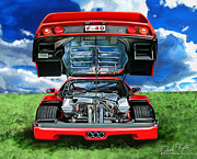 Motorsports Framed Prints - Ferrari F-40 Framed Print by David Kyte