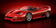Stylish Car Posters - Ferrari F50 - Flare Poster by Marc Orphanos