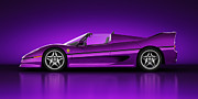 Auto Digital Art Posters - Ferrari F50 - Neon Poster by Marc Orphanos