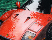 Chevy Pastels Prints - Ferrari In Red Print by Michael Foltz