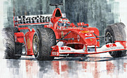 Sports Paintings - Ferrari Marlboro F 2002 Ferrari 051 Rubens Borrichello by Yuriy  Shevchuk