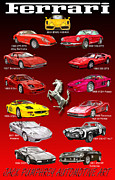 Ink Art Prints - Ferrari Poster Art Print by Jack Pumphrey