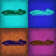 Old Mixed Media Metal Prints - Ferrari Testa Rossa Pop Art 1 Metal Print by Irina  March