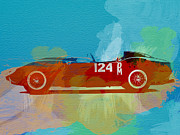 Italian Classic Cars Prints - Ferrari Testa Rossa Watercolor 1 Print by Irina  March