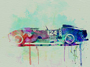 Vintage Car Drawings Prints - Ferrari Testa Rossa Watercolor 2 Print by Irina  March