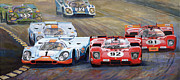 Retro Painting Prints - Ferrari vs Porsche 1970 Watkins Glen 6 Hours Print by Yuriy  Shevchuk