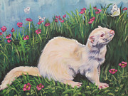 White Ferret Framed Prints - Ferret Framed Print by Lee Ann Shepard