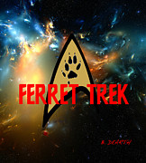 Ferret Framed Prints - Ferret Trek Logo  Framed Print by Brian Dearth
