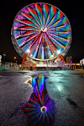 Ferris Wheel Night Photography Framed Prints - Ferris reflection Framed Print by David Lee Thompson
