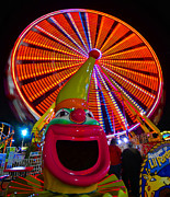 Ferris Wheel Night Photography Framed Prints - Ferris the Clown Framed Print by David Lee Thompson