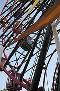 Roller Coasters Framed Prints - Ferris Wheel - 5D17604 Framed Print by Wingsdomain Art and Photography