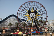 Ferris Wheel And Roller Coaster - Paradise Pier - Disney California Adventure - Anaheim California - Print by Wingsdomain Art and Photography