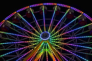 North Carolina State Fair Prints - Ferris Wheel at Night Print by Deb Cloer